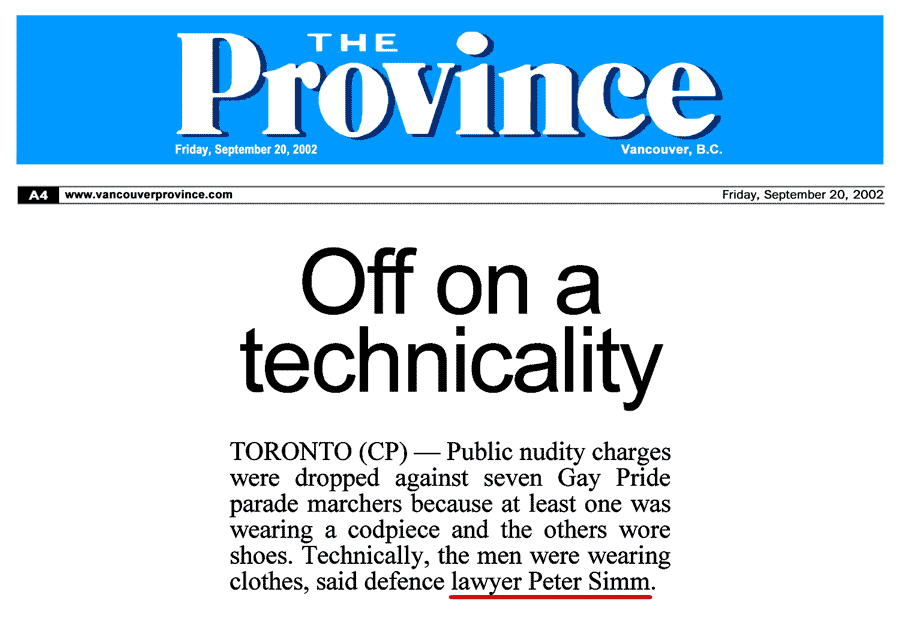 Vancouver Prov 2002-09-20 - Simm convinces Crown to drop nudity charges against Pride marchers